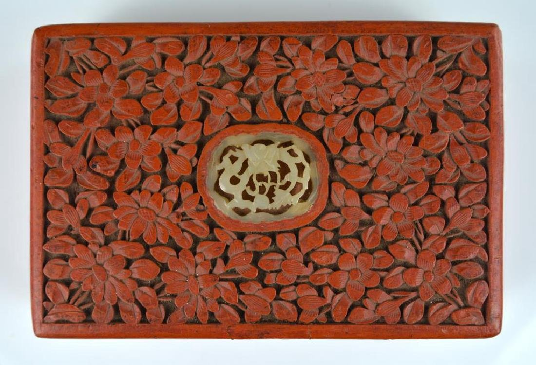 CHINESE CARVED CINNABAR LACQUER BOX WITH JADE - 3