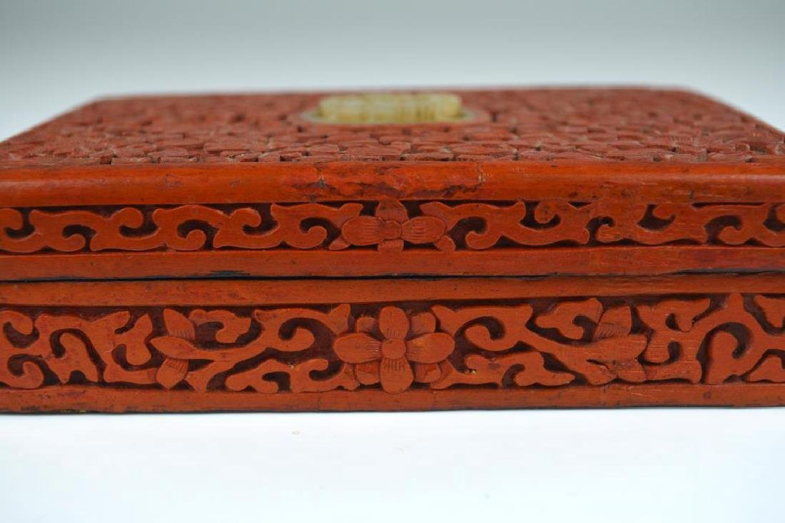 CHINESE CARVED CINNABAR LACQUER BOX WITH JADE - 4