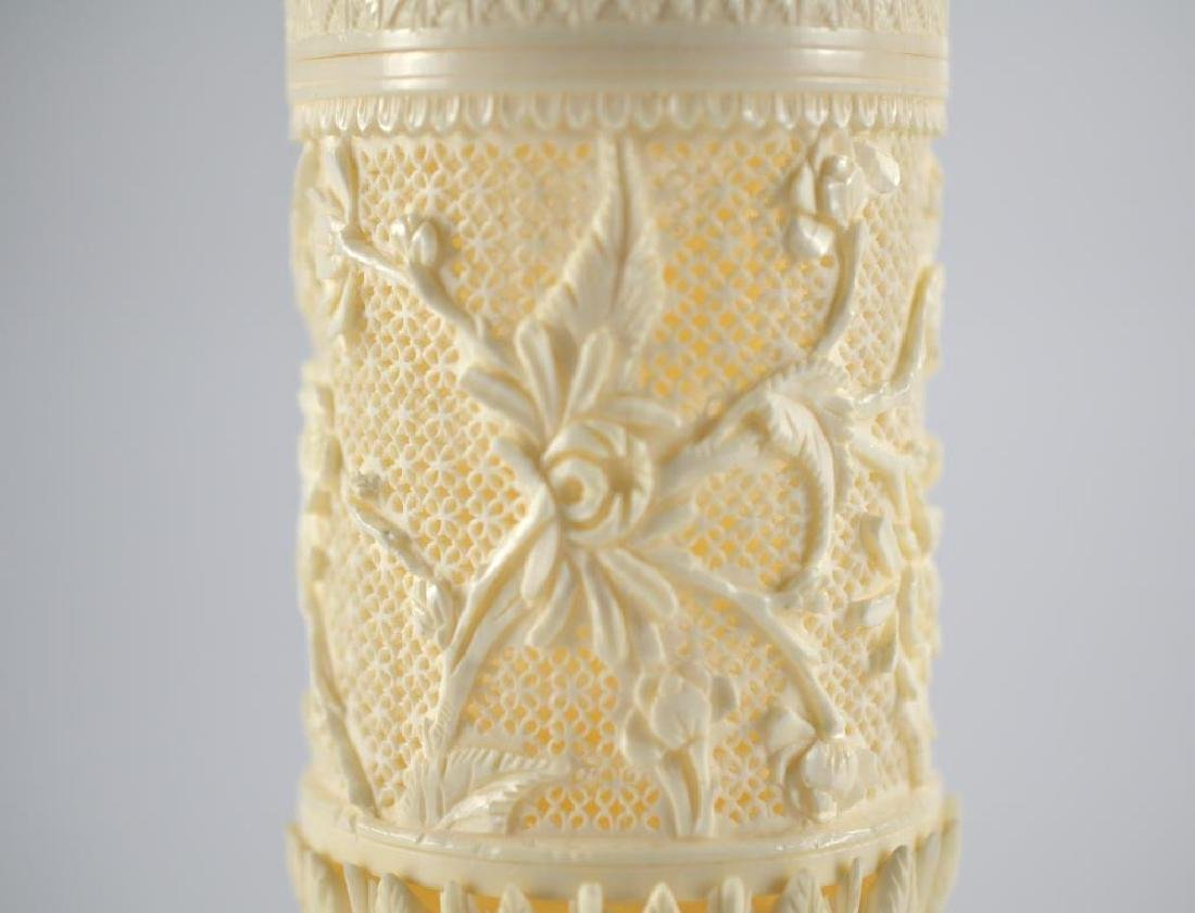 CHINESE IVORY CARVED PIERCED STEM BOX - 3