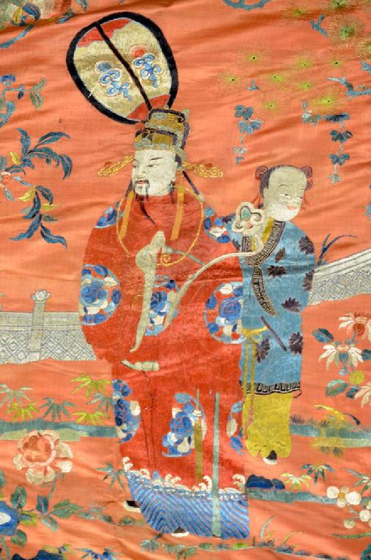 CHINESE SILK EMBROIDERED RED GROUND TEXTILE - 4