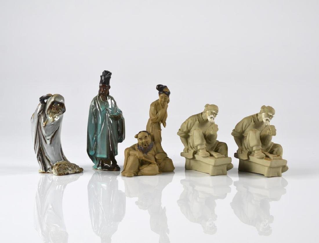 FIVE CHINESE SHIWAN POTTERY FIGURES GROUP