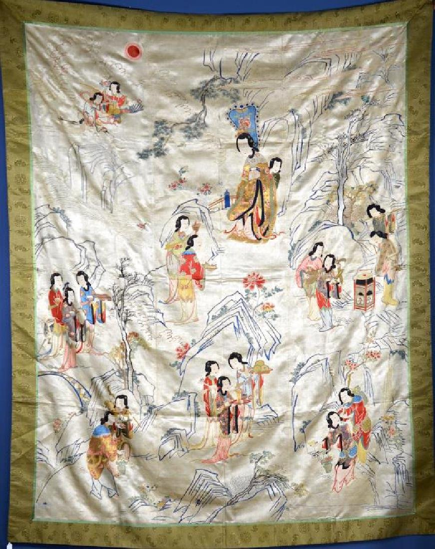 LARGE CHINESE SILK EMBROIDERED TEXTILE WITH LADIES