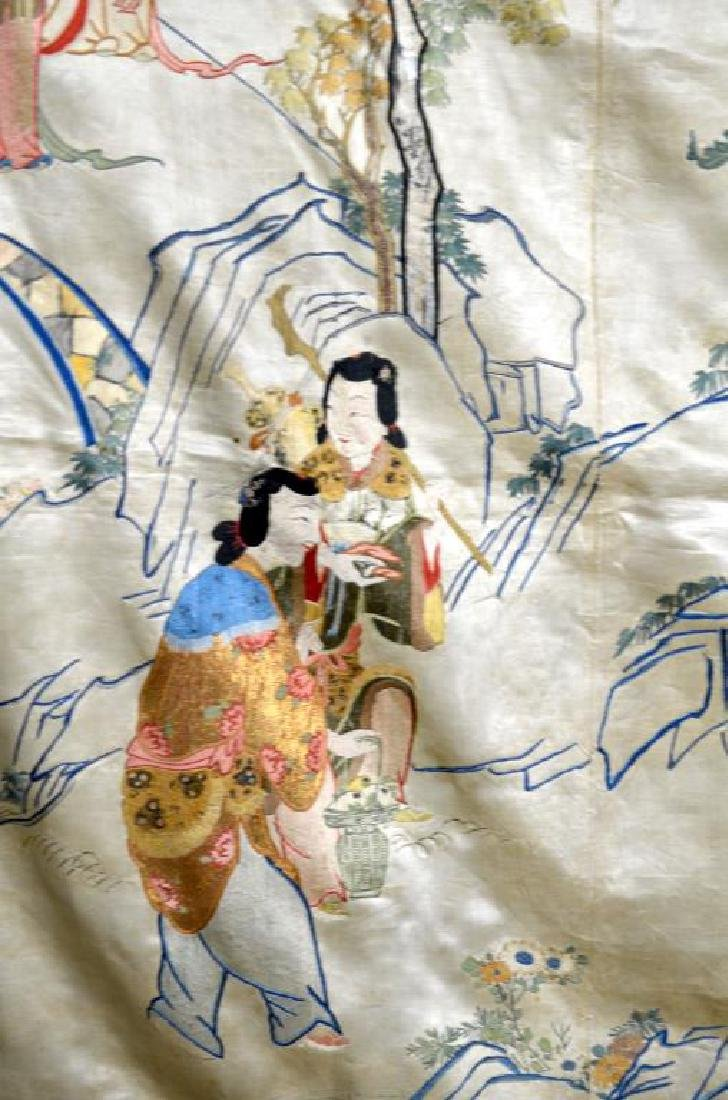 LARGE CHINESE SILK EMBROIDERED TEXTILE WITH LADIES - 6