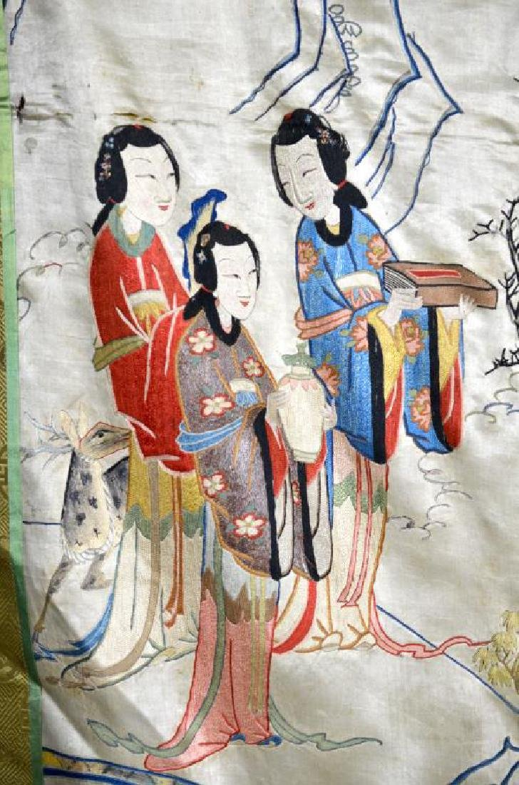 LARGE CHINESE SILK EMBROIDERED TEXTILE WITH LADIES - 7