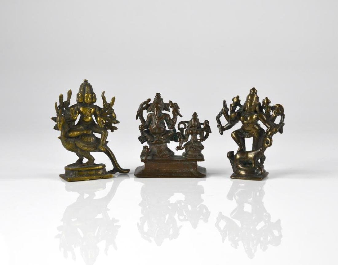 THREE INDIAN HINDU DEITY  BRONZE FIGURE STATUES