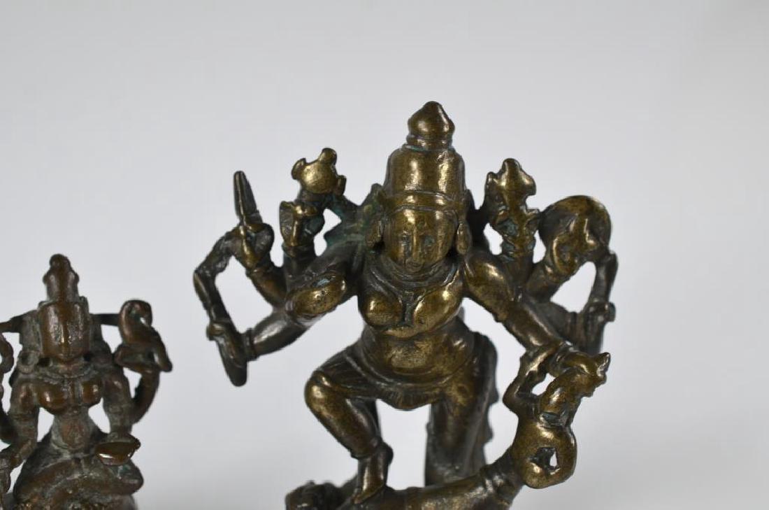 THREE INDIAN HINDU DEITY  BRONZE FIGURE STATUES - 4