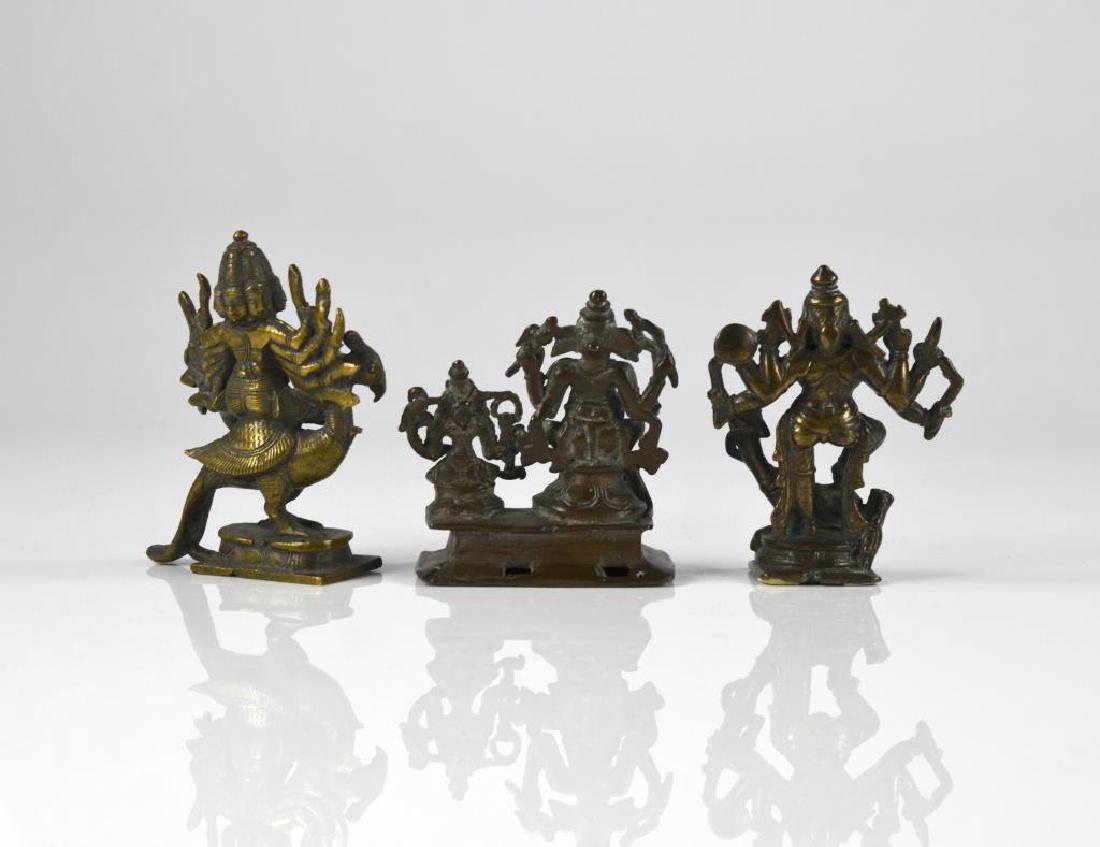 THREE INDIAN HINDU DEITY  BRONZE FIGURE STATUES - 6