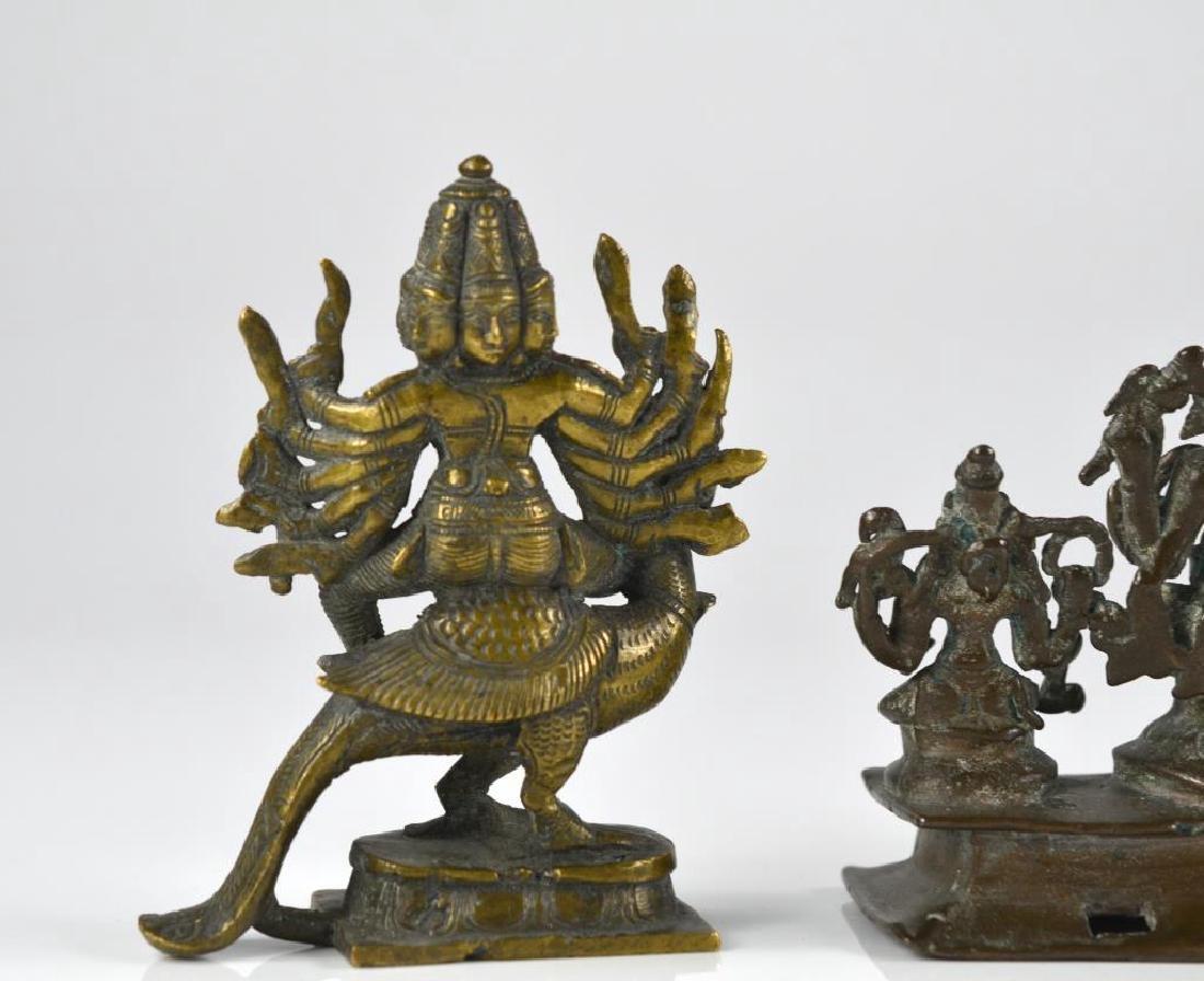 THREE INDIAN HINDU DEITY  BRONZE FIGURE STATUES - 7