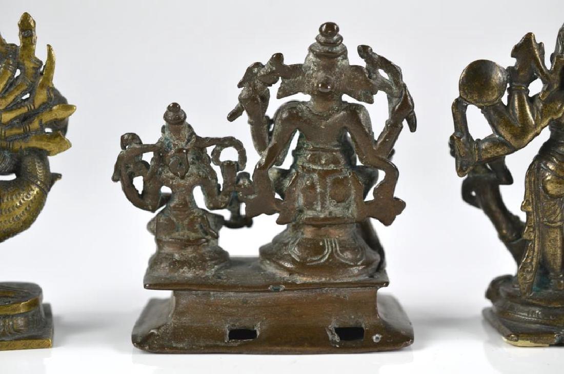 THREE INDIAN HINDU DEITY  BRONZE FIGURE STATUES - 8