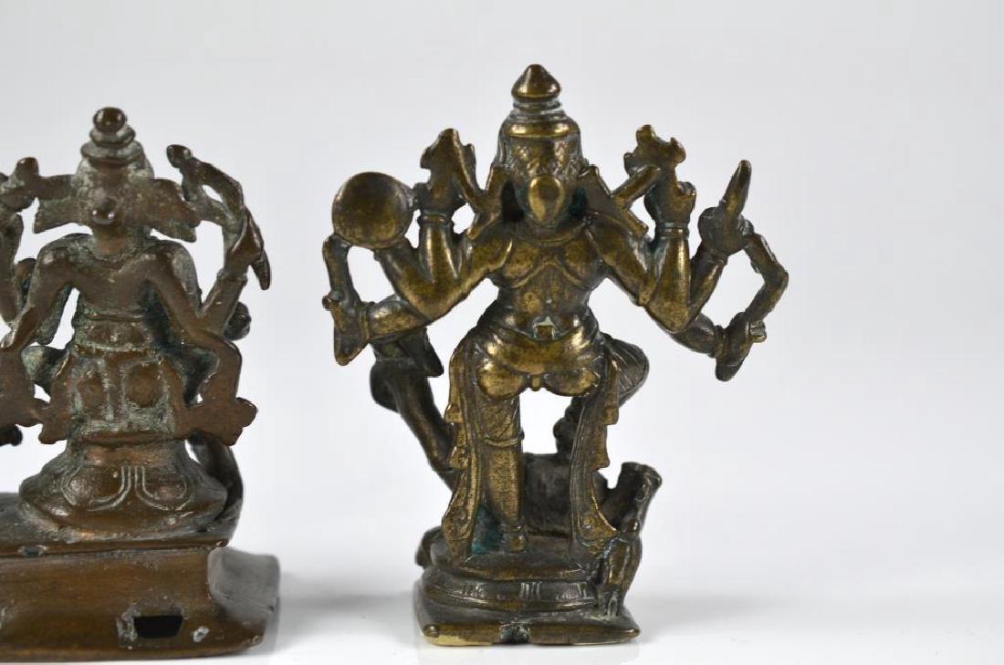 THREE INDIAN HINDU DEITY  BRONZE FIGURE STATUES - 9