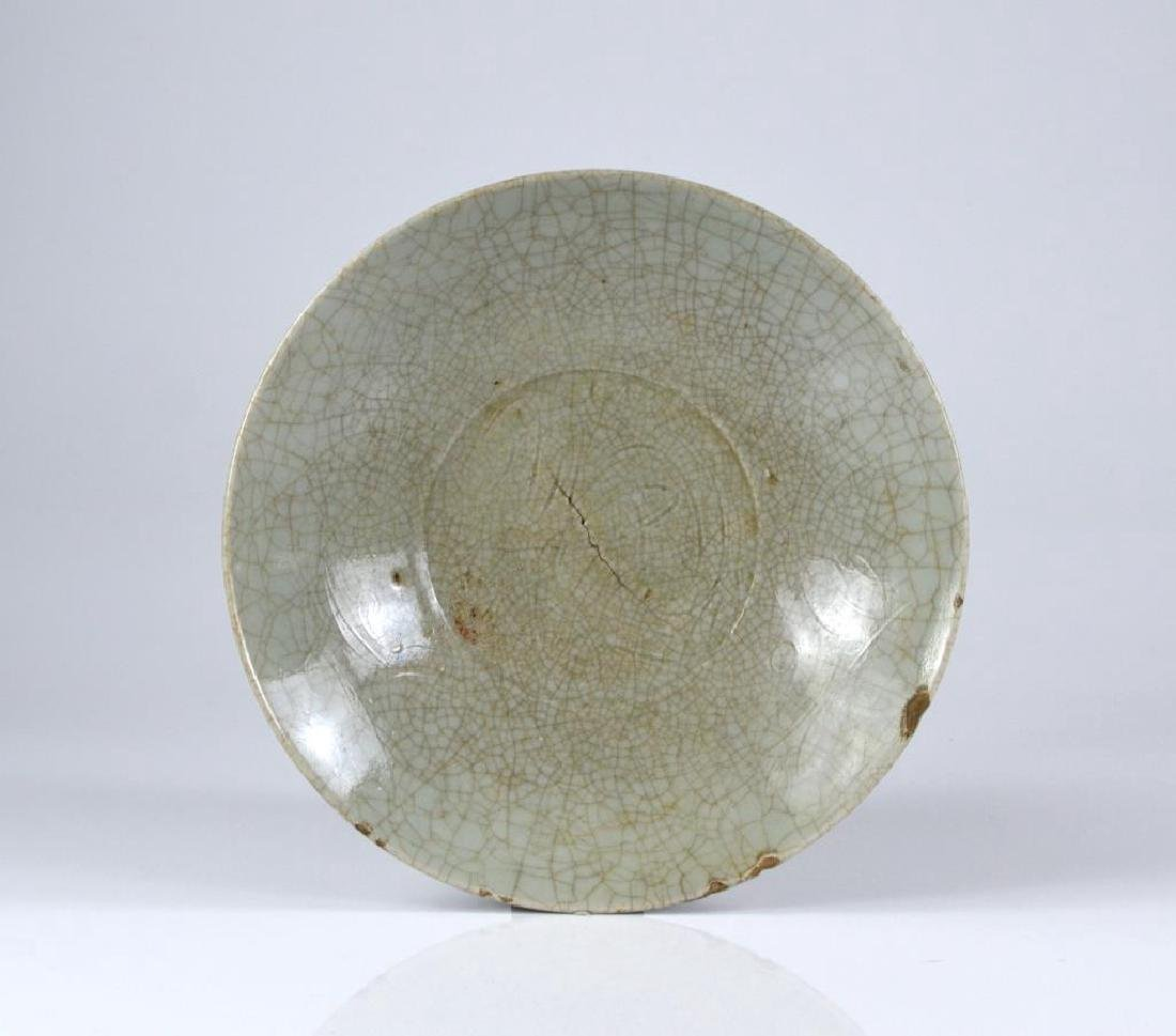 CHINESE CRACKLE GLAZE CELADON CERAMIC DISH