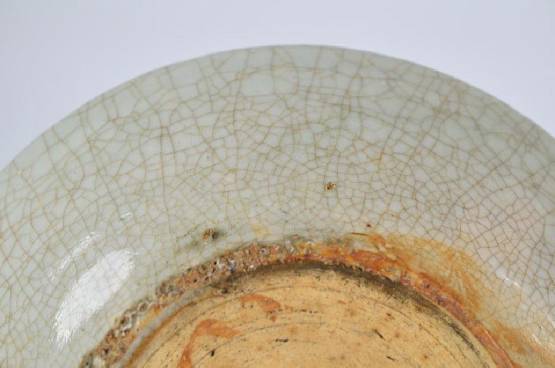 CHINESE CRACKLE GLAZE CELADON CERAMIC DISH - 4