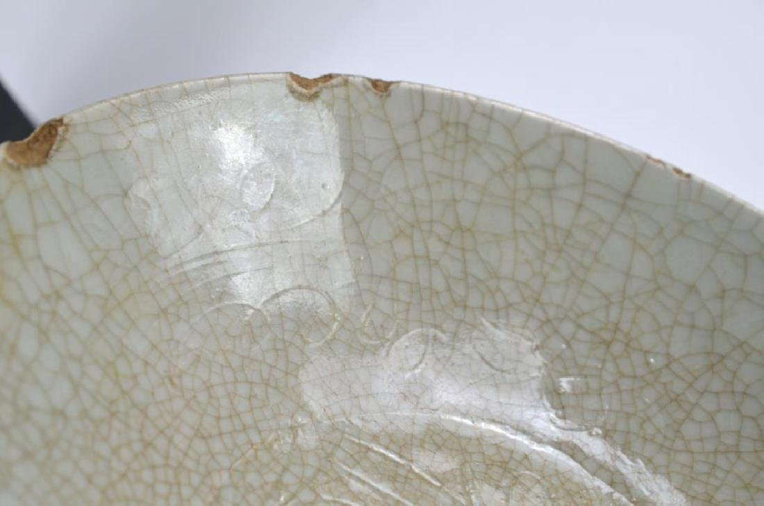 CHINESE CRACKLE GLAZE CELADON CERAMIC DISH - 6