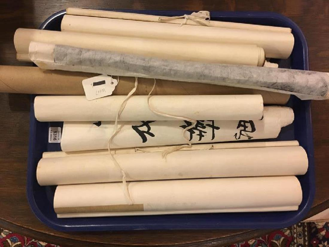 Tray lot of Chinese scroll paintings