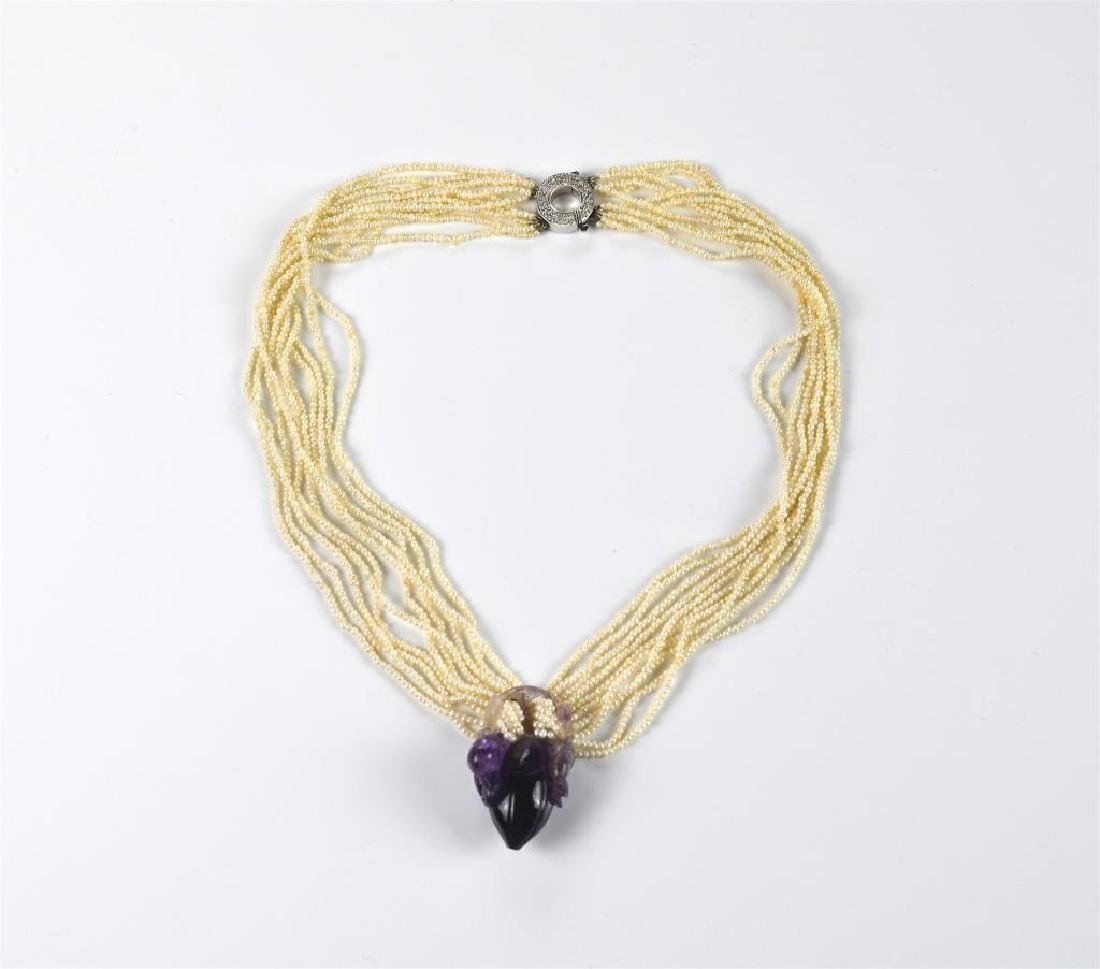 Seed pearl and amethyst necklace