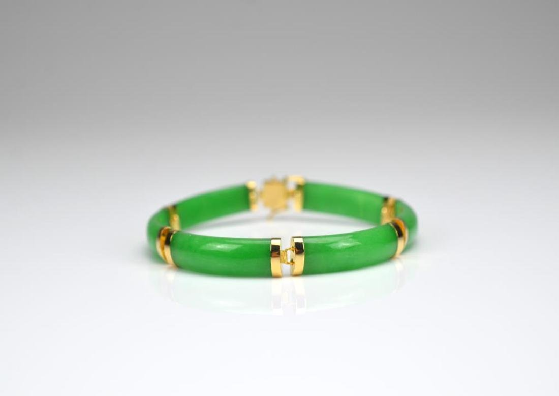 Chinese jadeite and gold bracelet