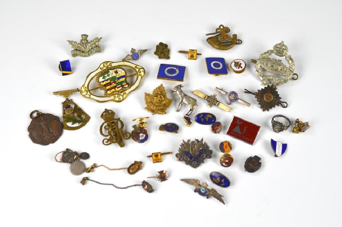 Lot of commemorative and military badges & pins