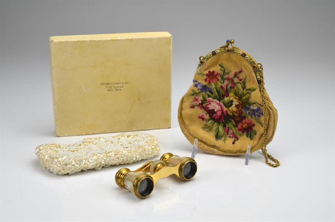 French Carpentier opera glasses with two purses