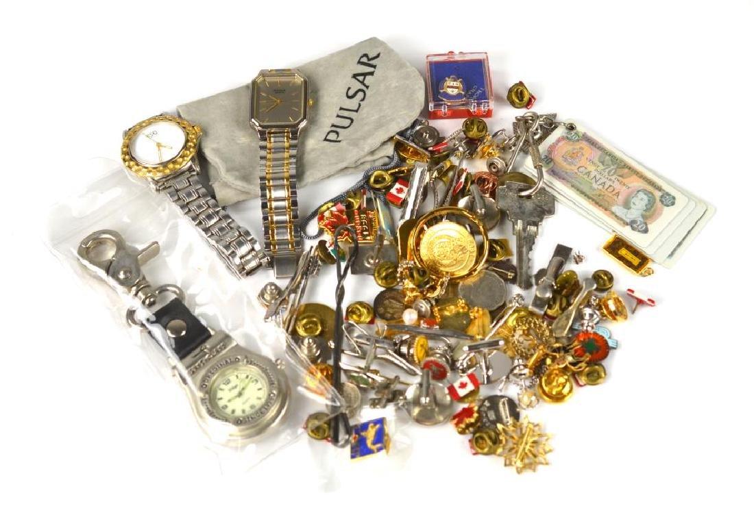Lot of pins, tie pins, watches, & cufflinks
