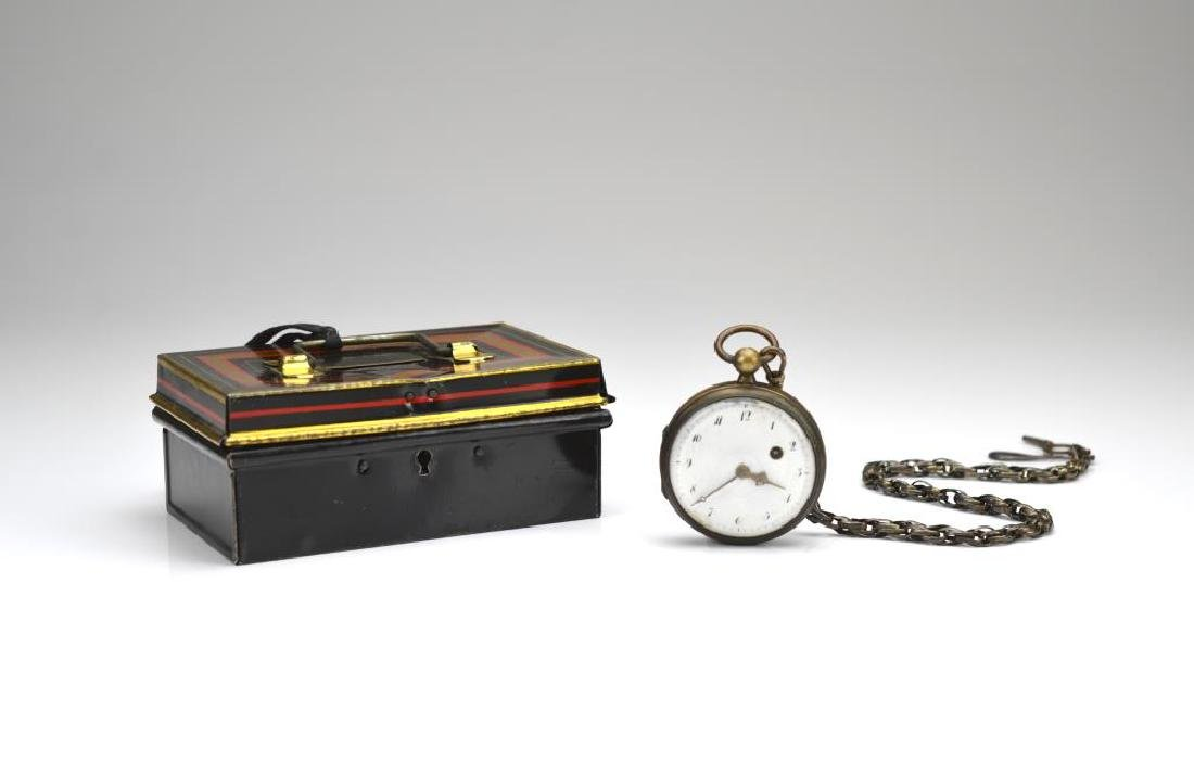 Antique pocket watch with silver chain and box