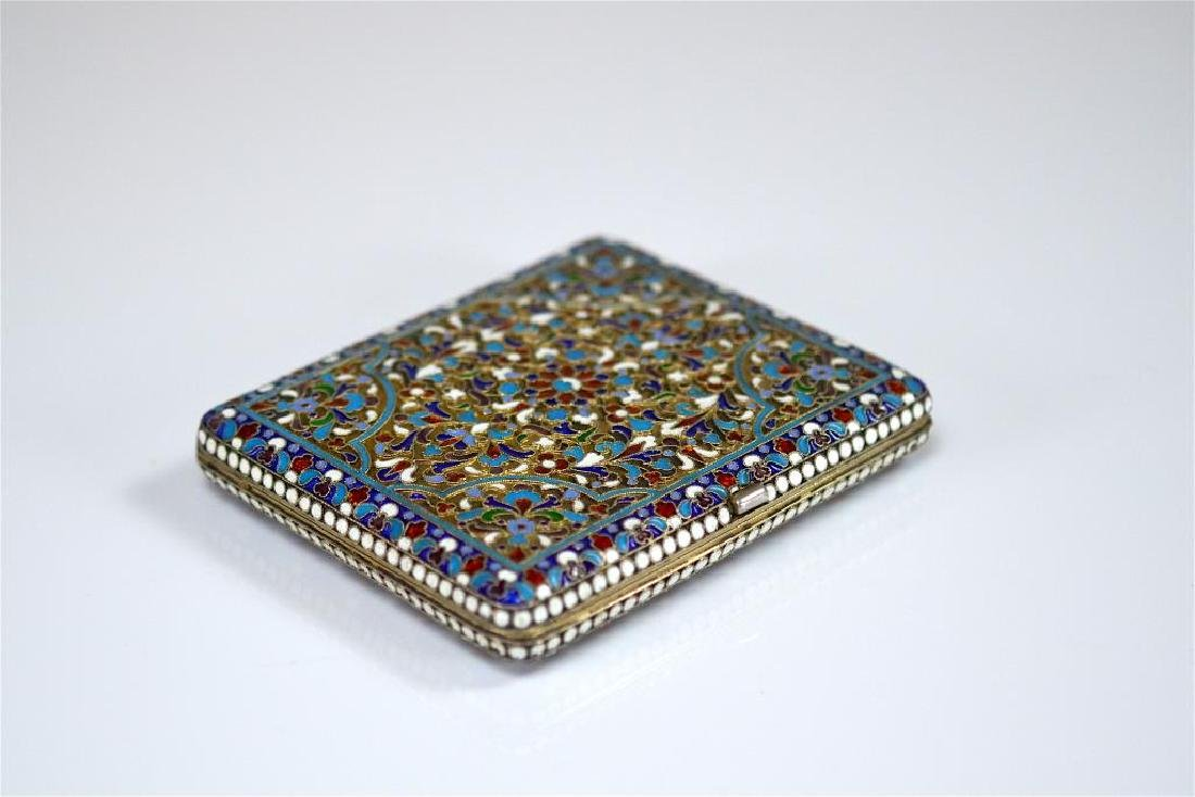 Russian gilt silver and enamel cigarette case