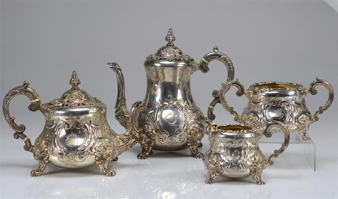 Victorian style English silver tea and coffee set