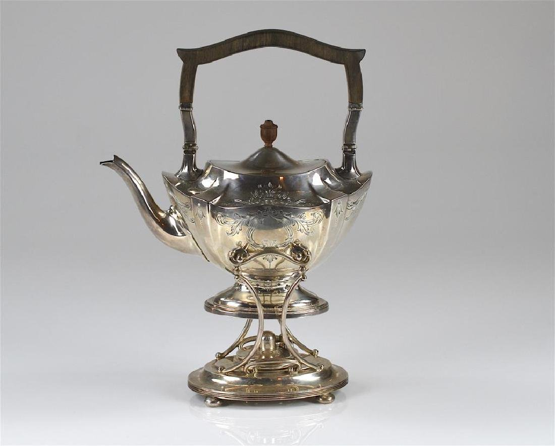 Gorham silver Plymouth Engraved kettle on stand