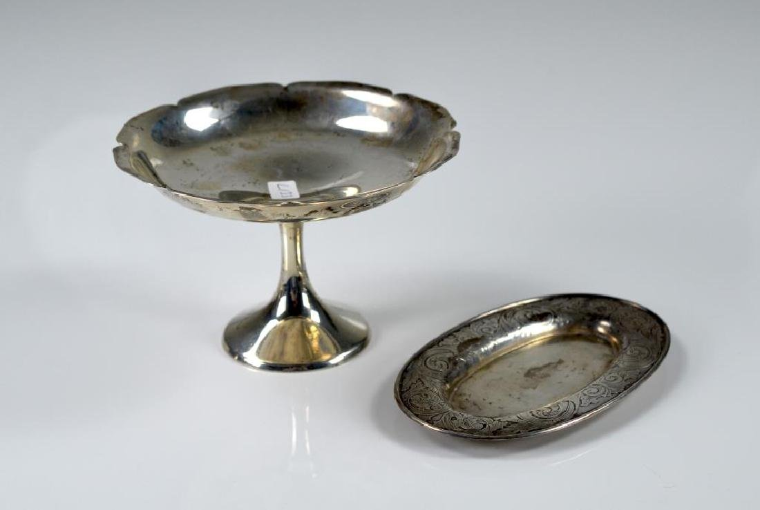 Small Gorham silver tray with American silver dish
