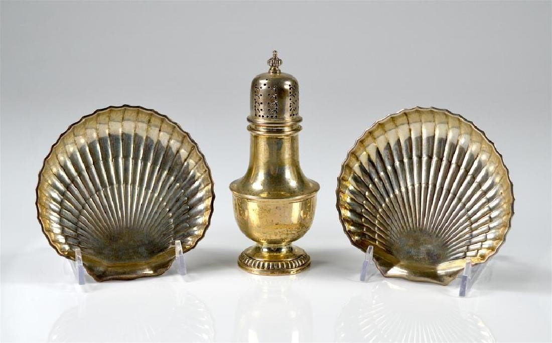 Birks silver caster w/ pair of shell dishes