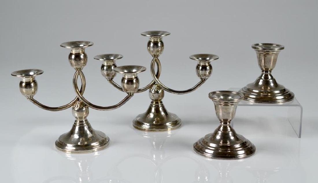 Two pairs of American silver candlesticks