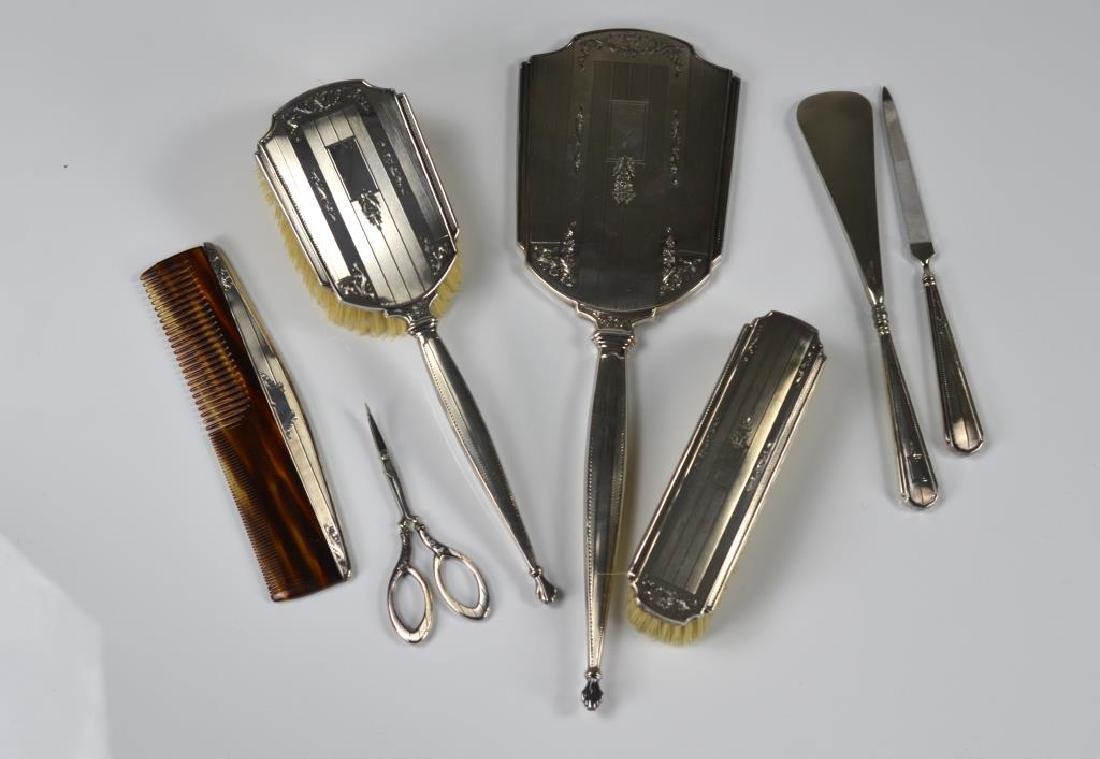 English silver dresser set