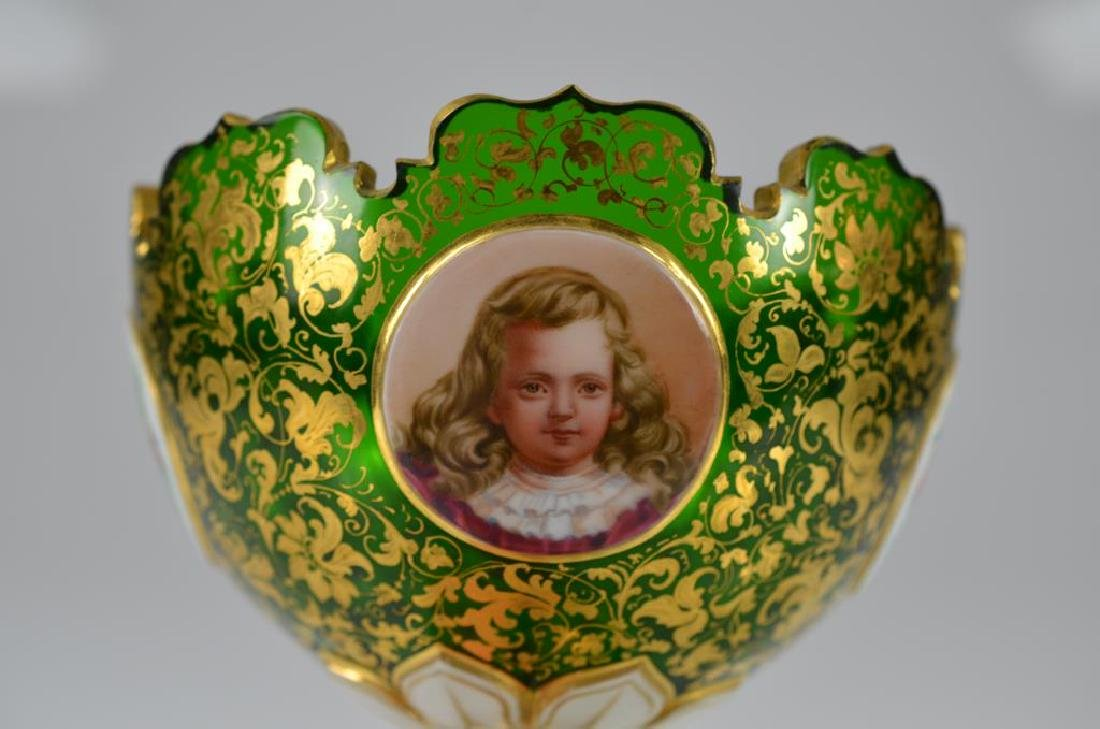 19th C Bohemian green glass comport - 3