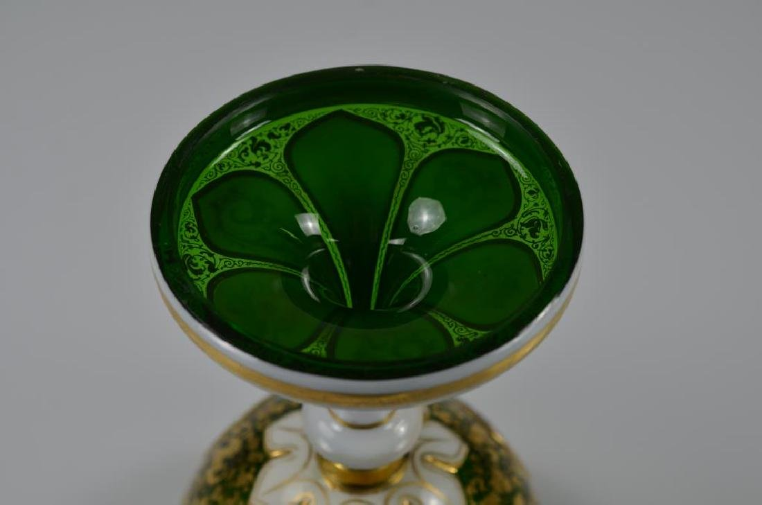 19th C Bohemian green glass comport - 5