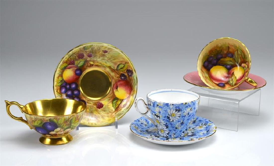 Two Aynsley cups and saucers w/ one Shelley