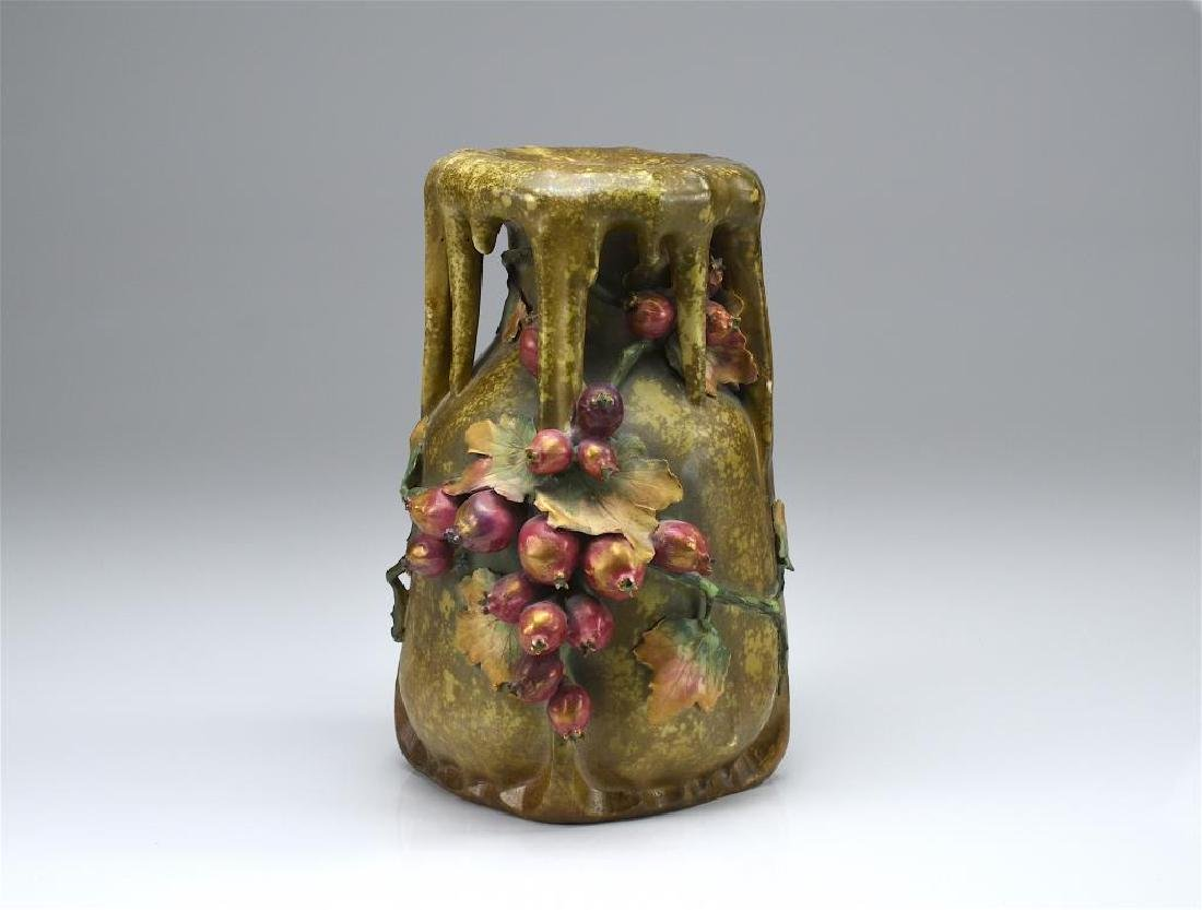 Austrian Art Nouveau amphora pottery vase