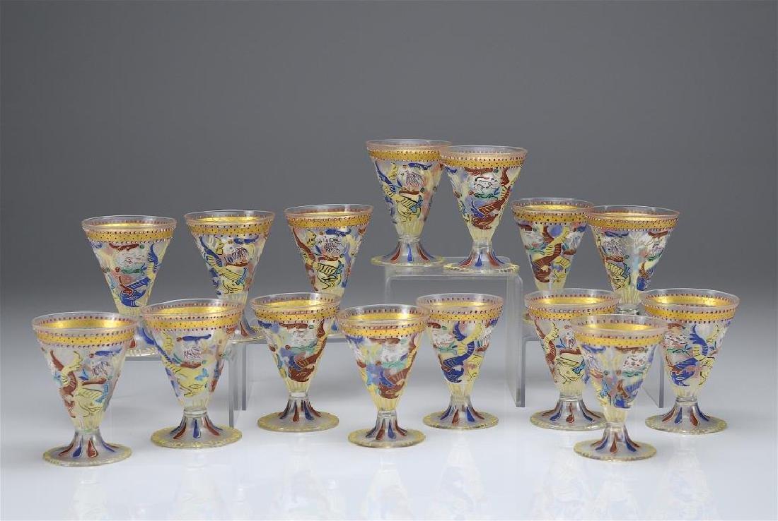 Fifteen hand painted liqueur glasses