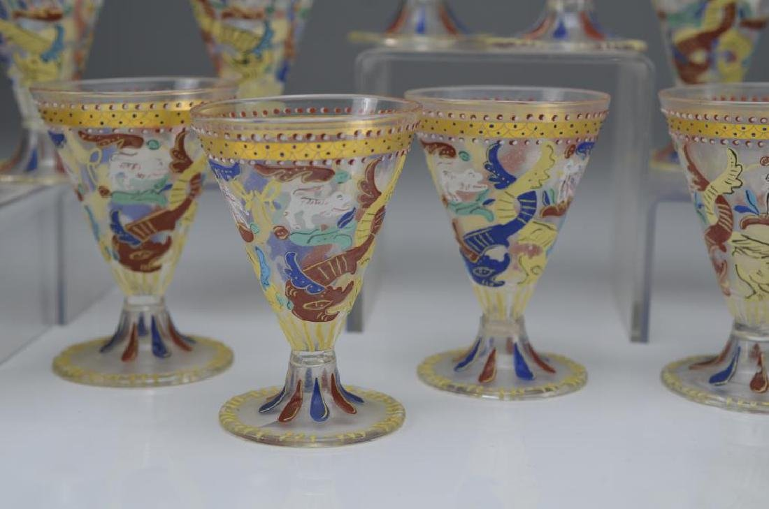 Fifteen hand painted liqueur glasses - 2