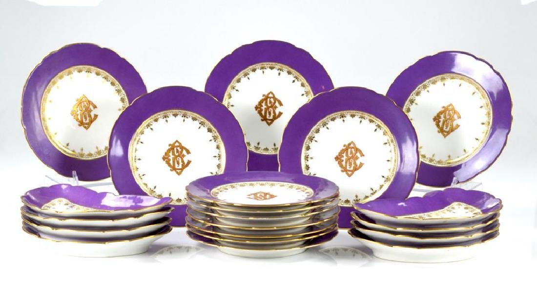 French porcelain kidney dishes & luncheon plates