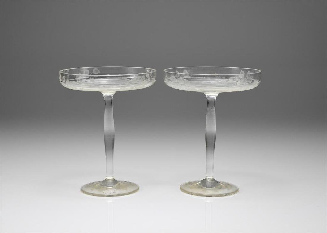 Pair of etched glass sweetmeat stands
