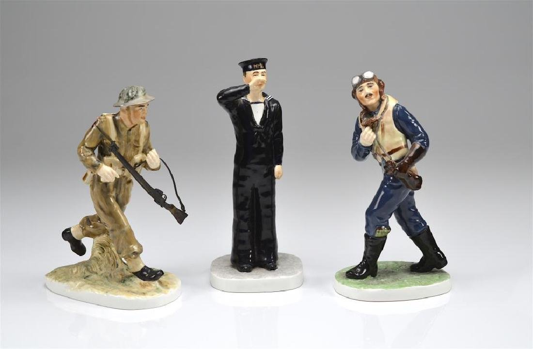 Three Coalport porcelain military figures