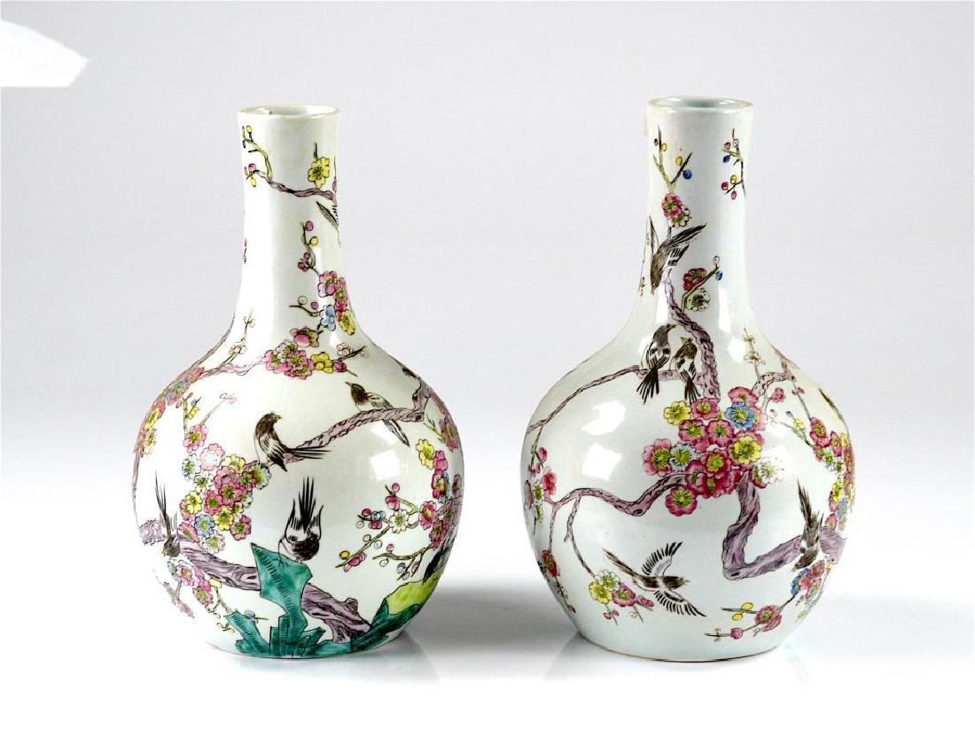 Pair of Chinese famille rose style porcelain vases