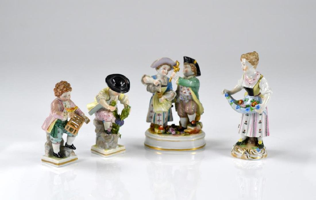 Four various German porcelain figurines