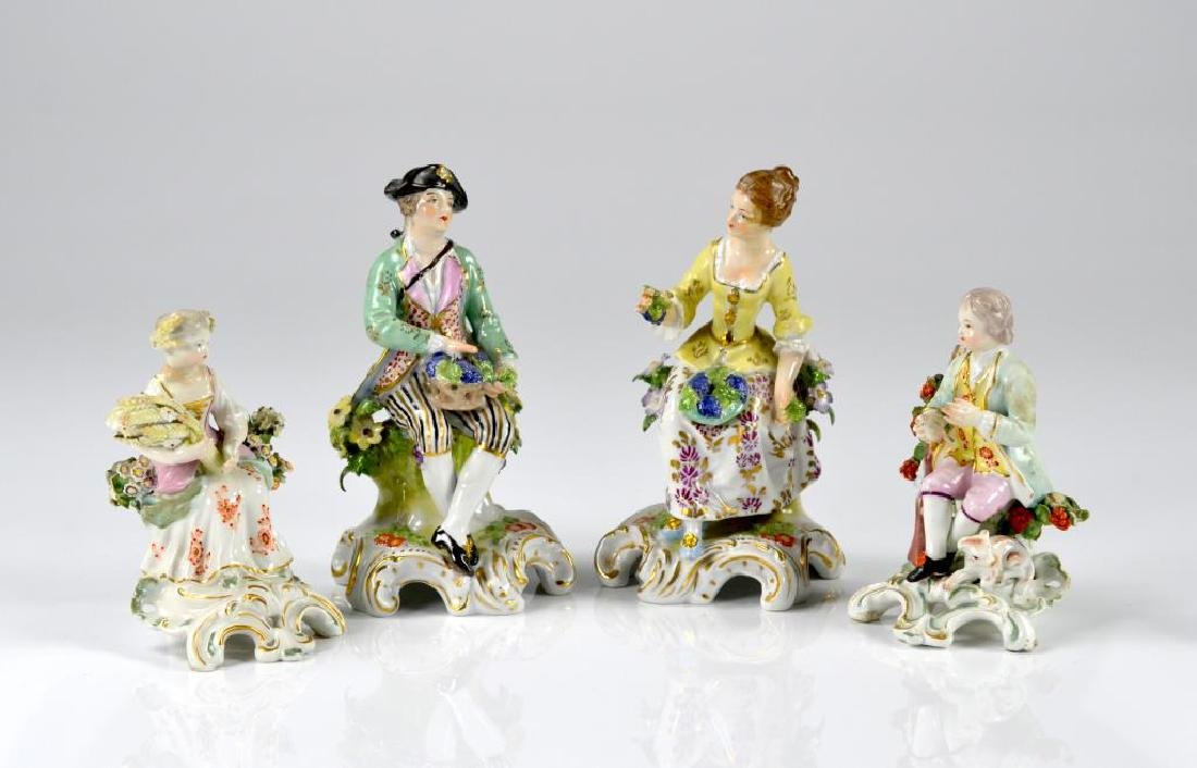 Two pairs of Continental porcelain figures