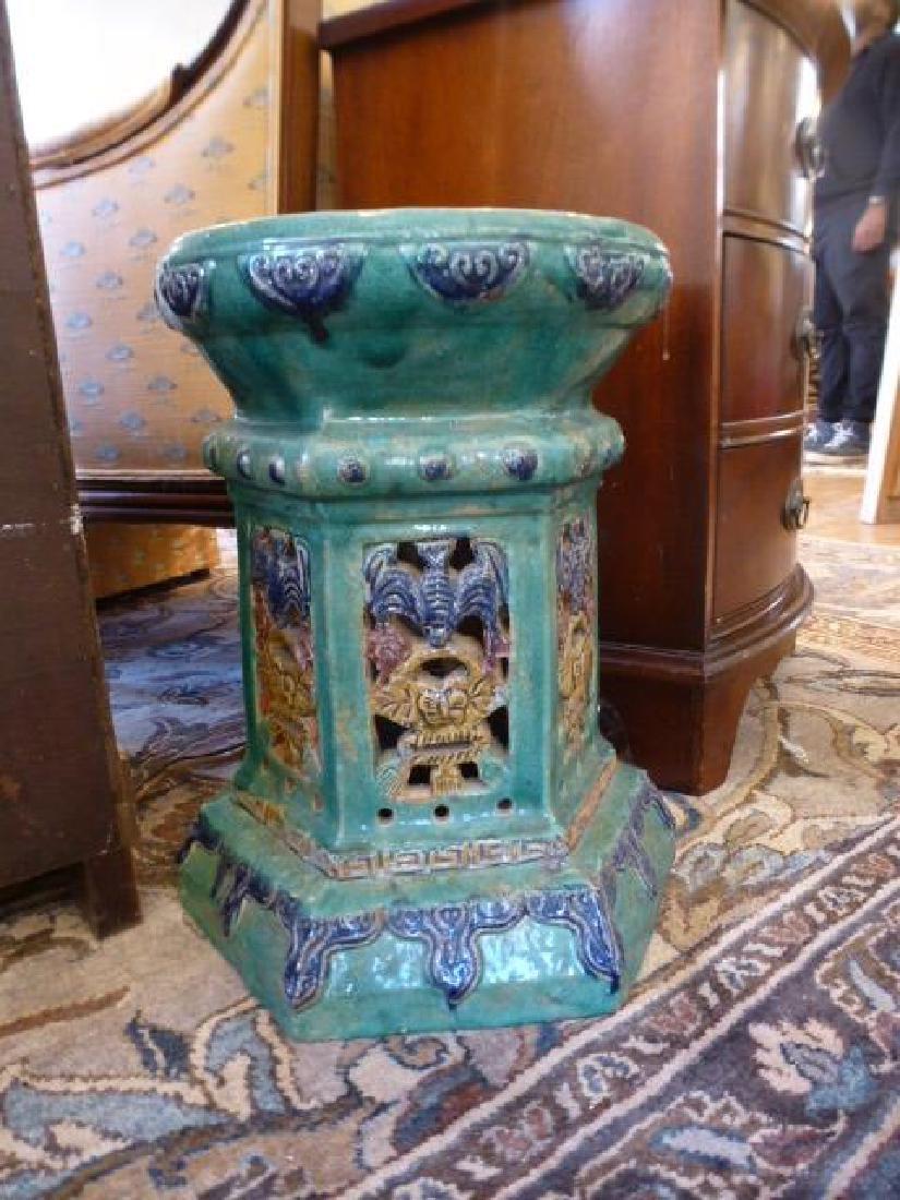 Chinese pottery green glaze pedestal stool