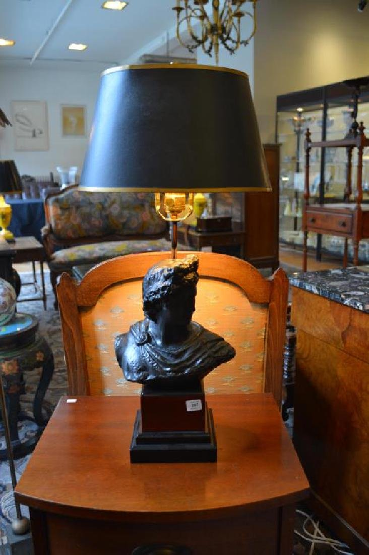 Bronze bust of a classical figure mounted as lamp