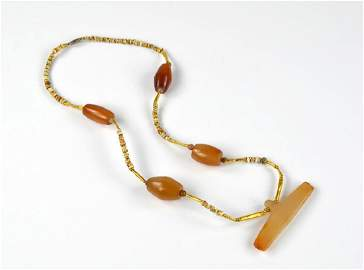 Pre Columbian jade, gold, and shell necklace