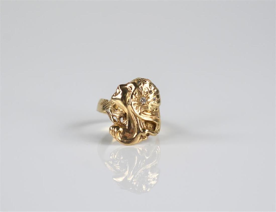 Gold Art Nouveau ring