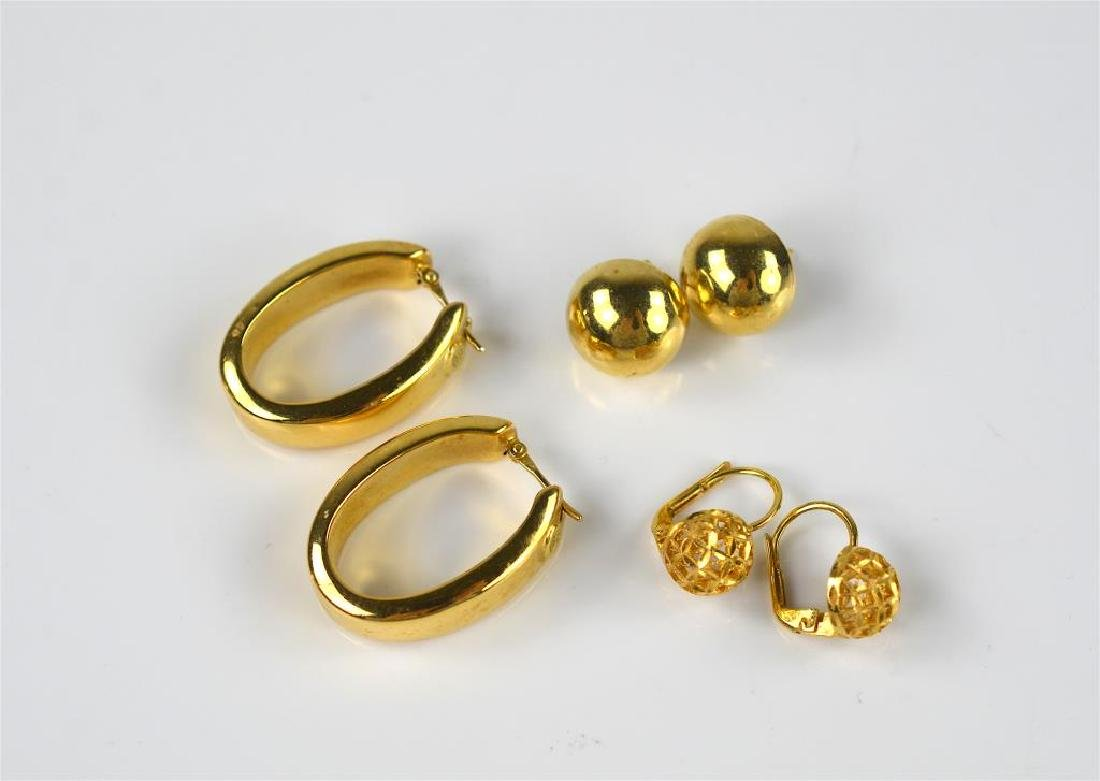 Three pairs of yellow gold earrings
