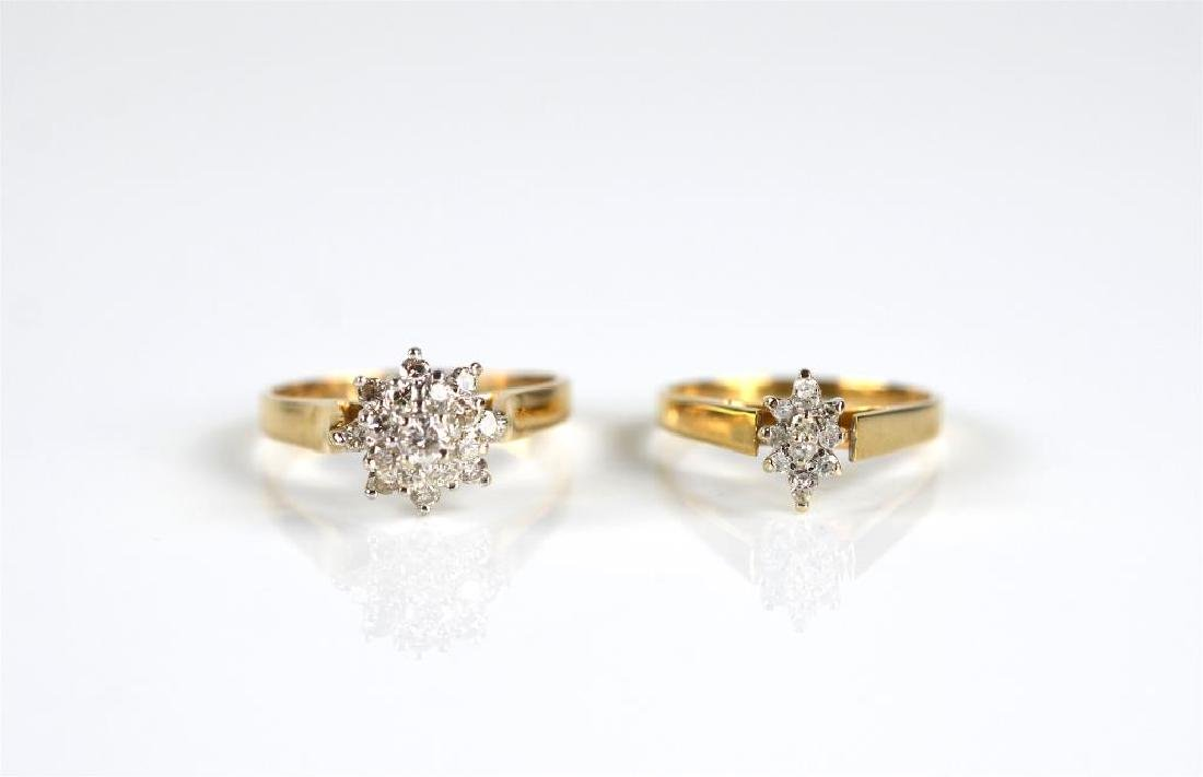 Two yellow gold and diamond rings