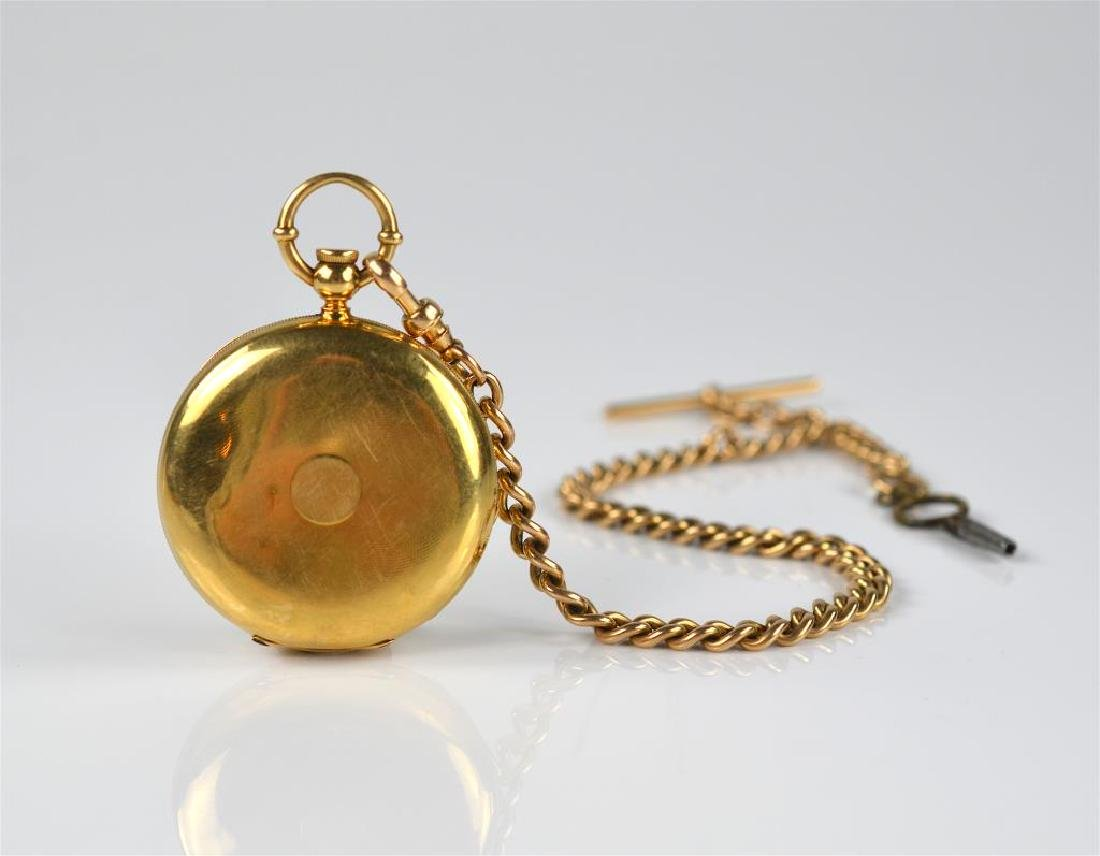 American 18k yellow gold pocket watch and chain